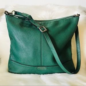 Authentic Coach Large Green Leather Bag Purse